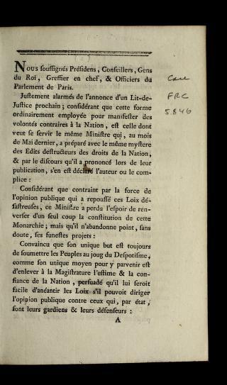Nous soussigne s pre sidens, conseillers, gens du roi, greffier en chef, & officiers du Parlement de Paris by France. Parlement (Paris)